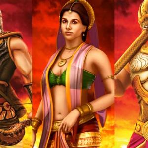Mahabharat 3D Poster Bhisma, Draupadi and Bheem