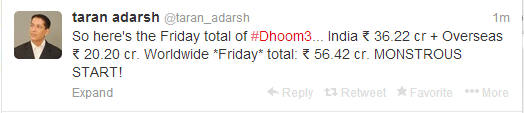 Taran Adarsh Tweet For Dhoom 3 First Day Collection (Indian And Overseas)